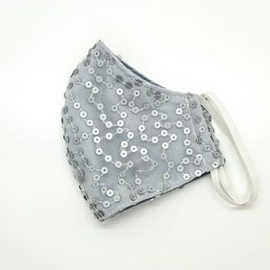 Silver Sequin Adult Face Mask 1 Pc
